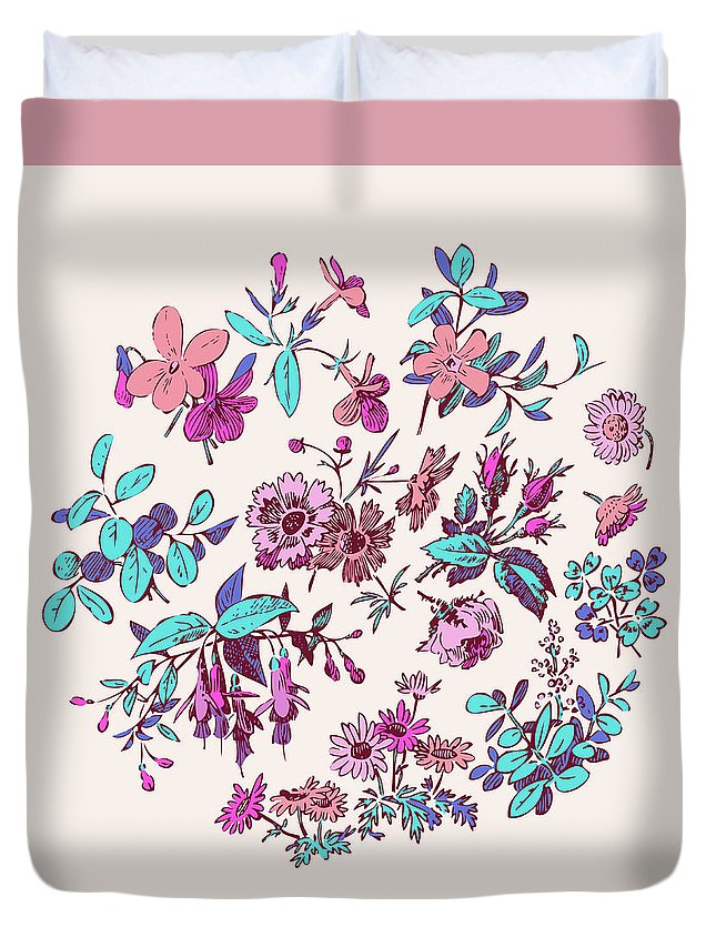 Floral Duvet Cover featuring the digital art Meadow Flower And Leaf Wreath Isolated On Pink, Circle Doodle Fl by Svetlana Corghencea