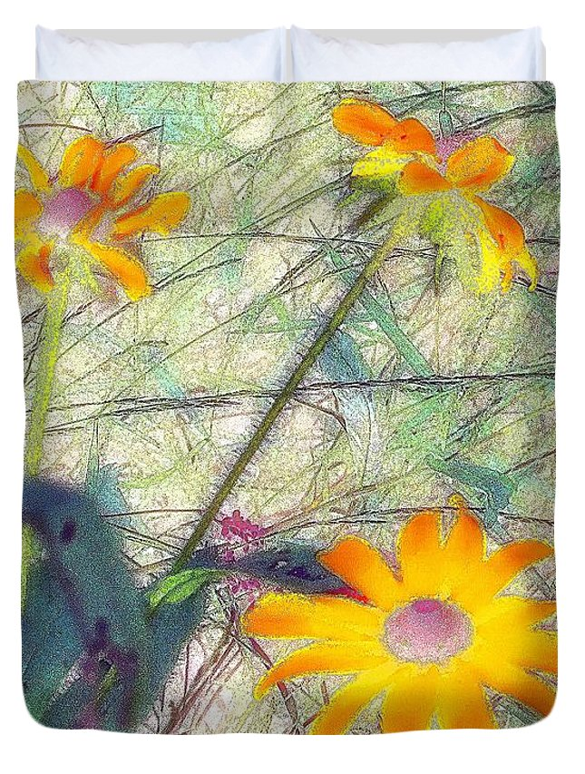Bright Duvet Cover featuring the painting Meadow Out Loud by RC DeWinter