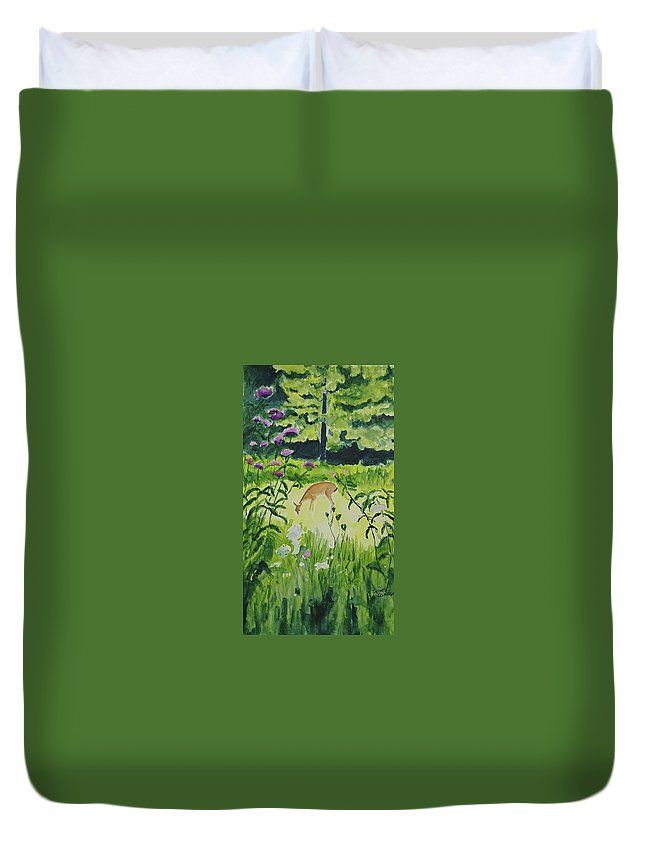 Deer Duvet Cover featuring the painting Meadow Surprise by Diane Carder