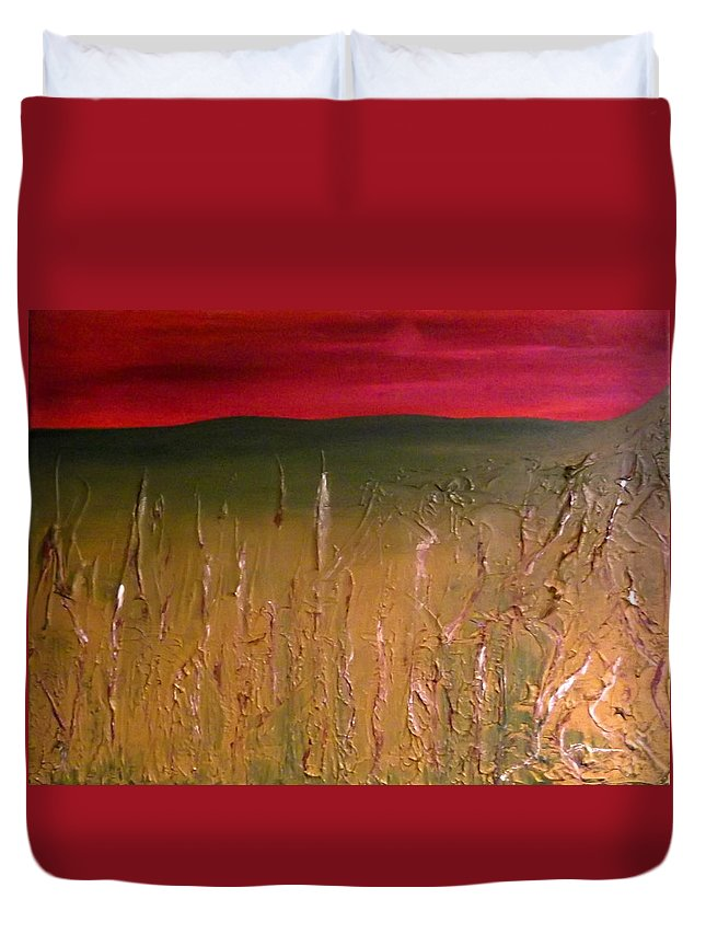 Meadow Duvet Cover featuring the painting Meadows Autumn Sunset by Emma Farrow