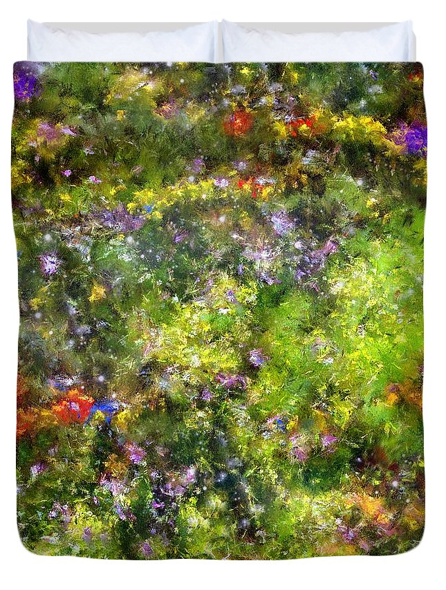 Meadow Duvet Cover featuring the painting Meadowstars In Manx by RC DeWinter