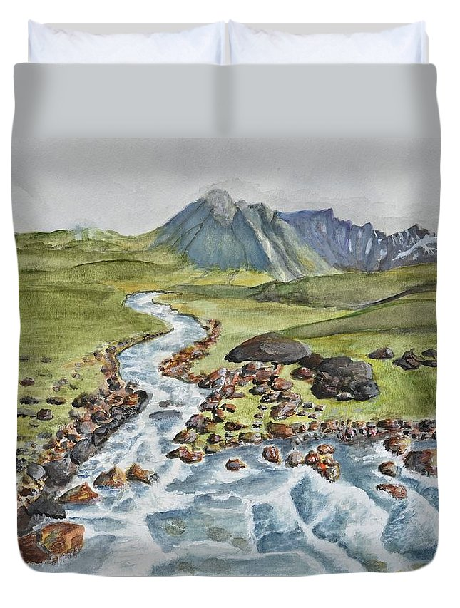 Linda Brody Duvet Cover featuring the painting Meandering Stream by Linda Brody