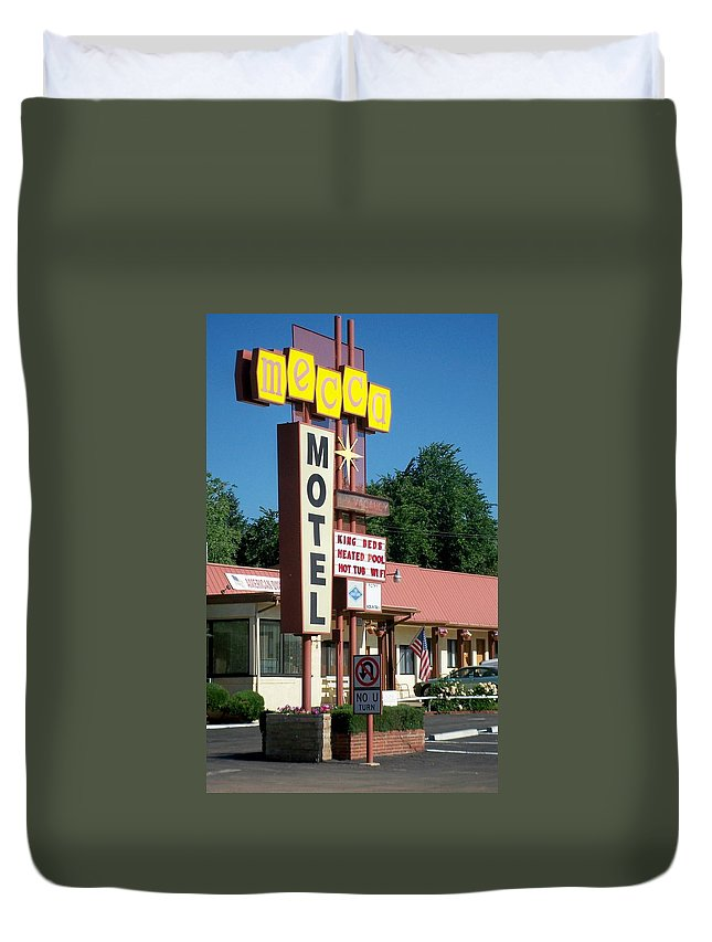 Vintage Motel Signs Duvet Cover featuring the photograph Mecca Motel by Anita Burgermeister