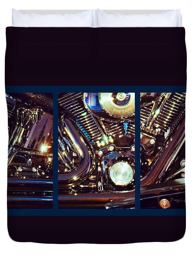Harley Davidson Duvet Cover featuring the photograph Mechanism by Steve Karol