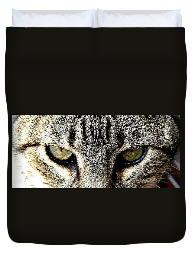 Cat Duvet Cover featuring the photograph Me...dangerous...never. by Valerie Ornstein
