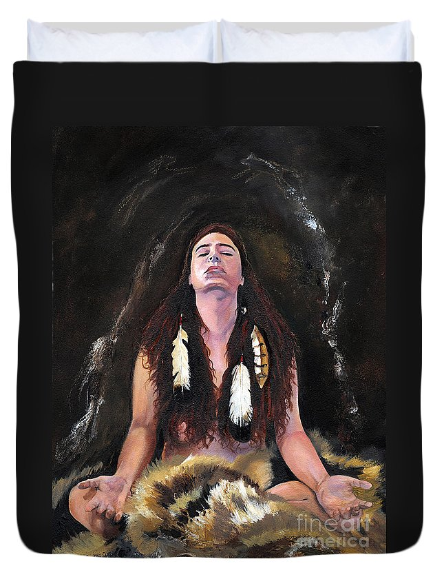 Southwest Art Duvet Cover featuring the painting Medicine Woman by J W Baker