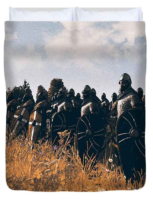 Medieval Infantry Duvet Cover featuring the painting Medieval Army In Battle - 04 by Andrea Mazzocchetti