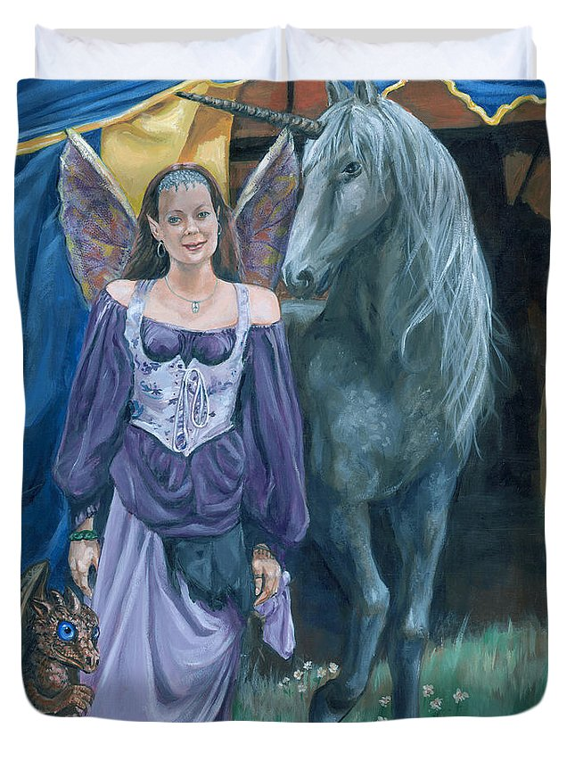 Fairy Faerie Unicorn Dragon Renaissance Festival Duvet Cover featuring the painting Medieval Fantasy by Bryan Bustard