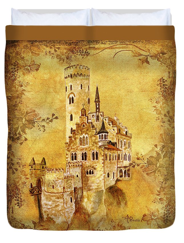 Castles Duvet Cover featuring the painting Medieval Golden Castle by Angeles M Pomata