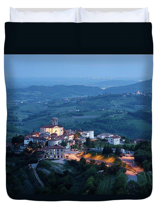 Smartno Duvet Cover featuring the photograph Medieval Hilltop Village Of Smartno Brda Slovenia At Dusk With S by Reimar Gaertner