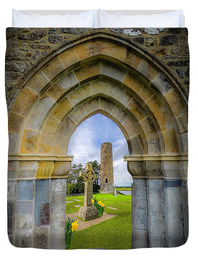 Clonmacnoise Duvet Cover featuring the photograph Medieval Irish Countryside by James Truett