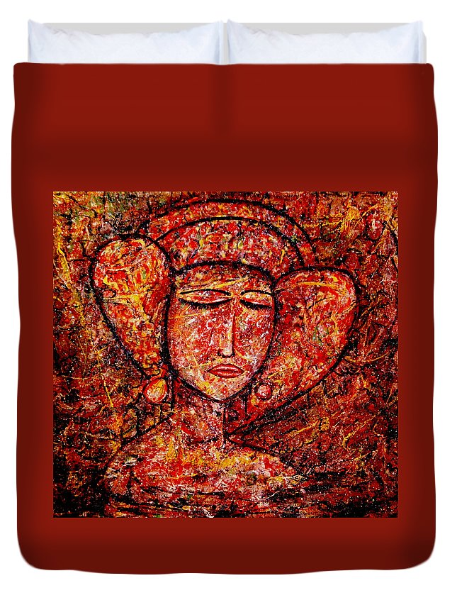 Medieval Lady Duvet Cover featuring the painting Medieval Noble Lady by Natalie Holland