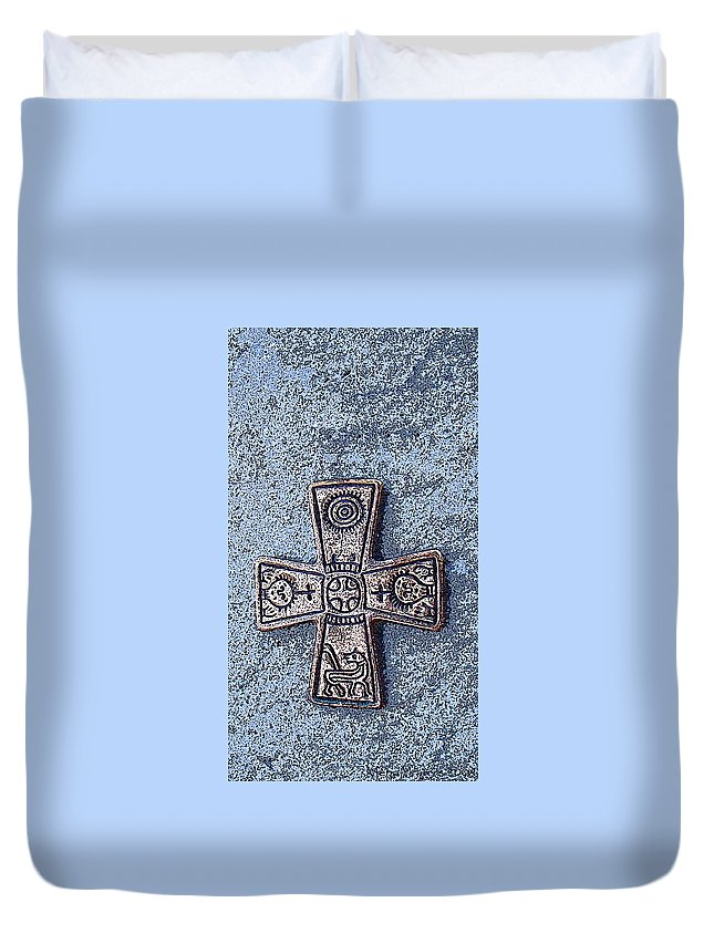 Cross Duvet Cover featuring the photograph Medieval Nordic Cross by Merja Waters
