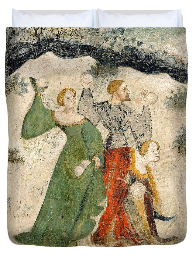 Female; Playing; Snow; Winter; Throwing; Bataille; Boule; Neige; Boules; Winter Duvet Cover featuring the painting Medieval Snowball Fight by Maestro Venceslao