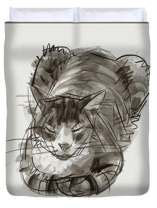 Cat Duvet Cover featuring the painting Meditating Cat by Judith Kunzle