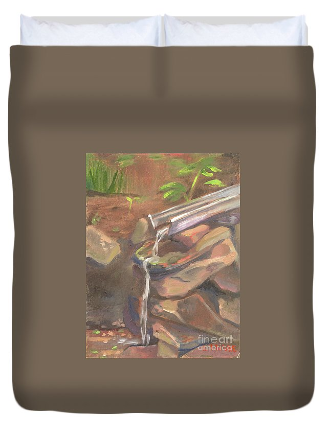 Water Duvet Cover featuring the painting Meditation Falls by Lilibeth Andre