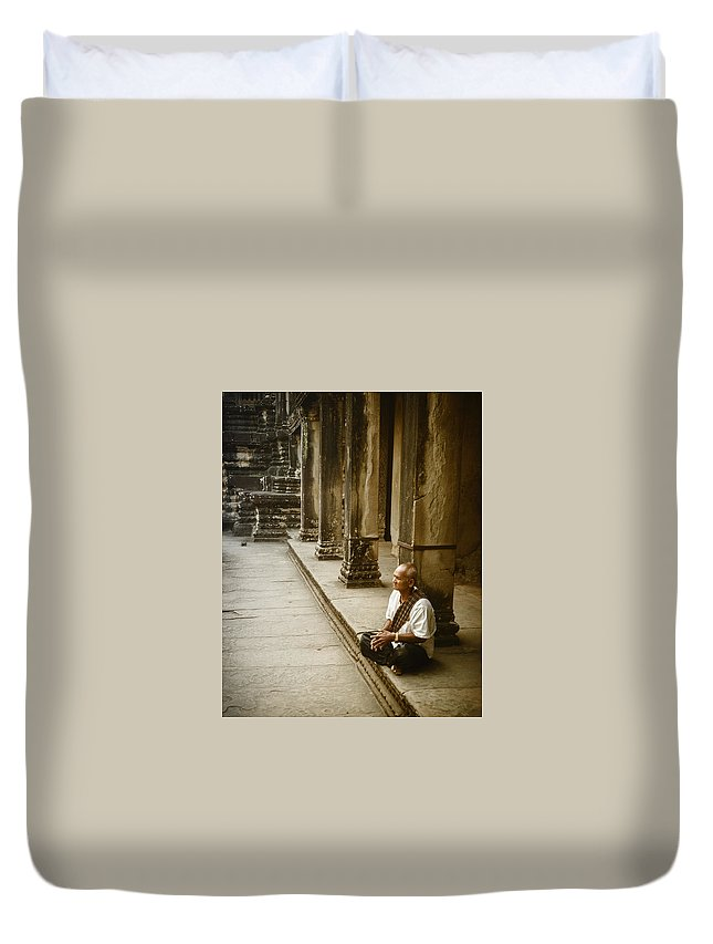 South East Asia Duvet Cover featuring the photograph Meditation by Maureen Clark