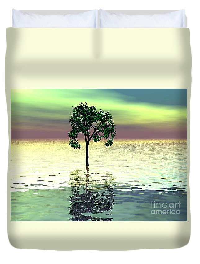 Decorative Duvet Cover featuring the digital art Meditation by Oscar Basurto Carbonell