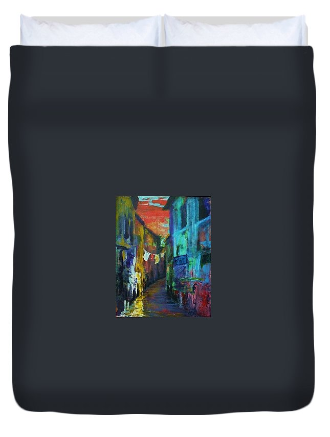 Italy Duvet Cover featuring the painting Mediterranean Dusk by Margaret Plumb