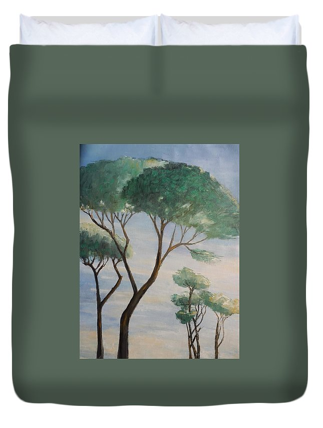 Trees Duvet Cover featuring the painting Mediterranean Pines by Maria Karalyos