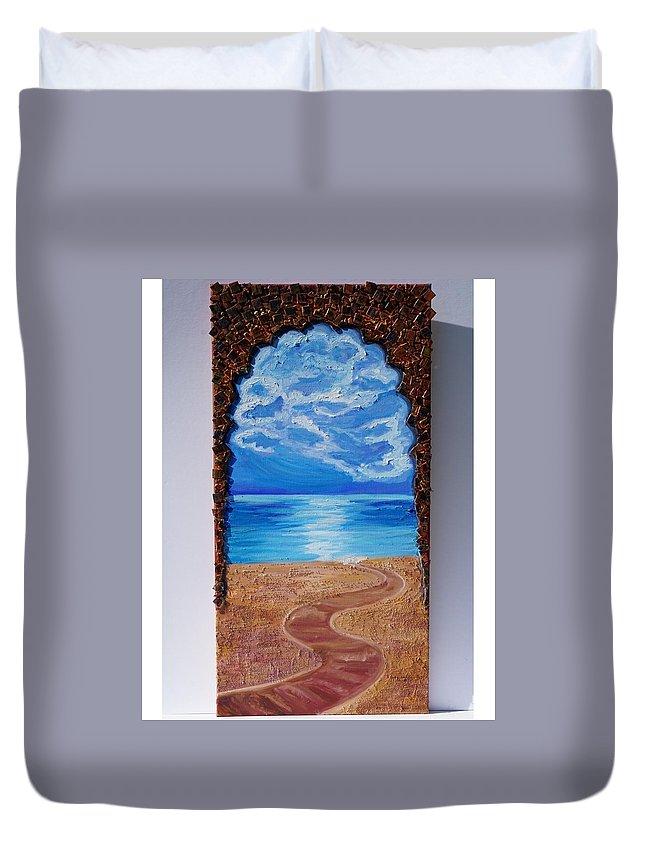 Road. Ocean. Philosophy Of Life. Duvet Cover featuring the painting Mediterranean Road. by Valeriya Bugatti
