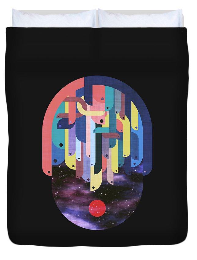 Myth Duvet Cover featuring the digital art Medusa by Mustafa Akgul