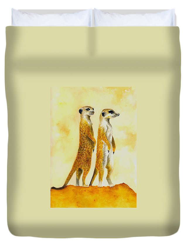 Meerkats Duvet Cover featuring the painting Meerkats by Michael Vigliotti
