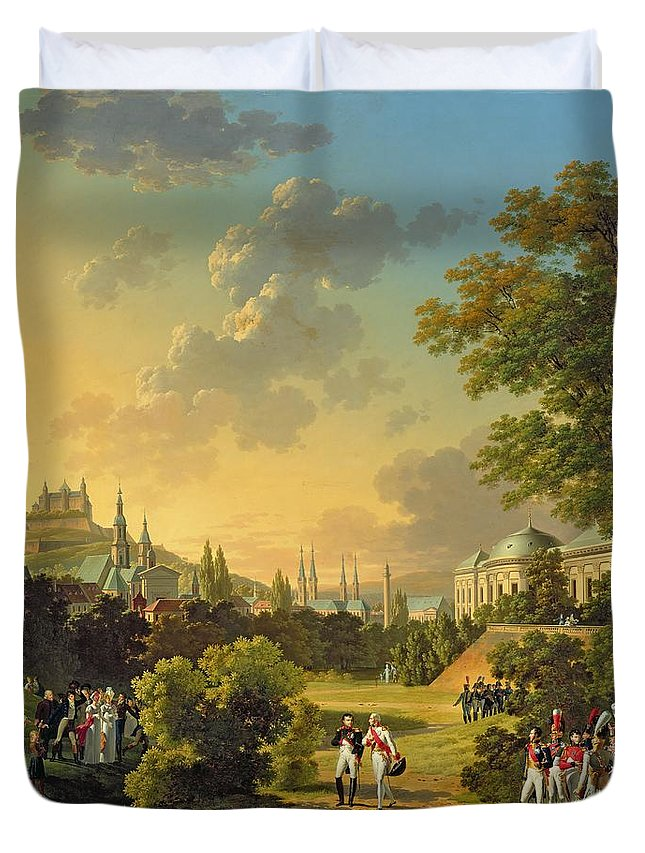 Meeting Duvet Cover featuring the painting Meeting Between Napoleon I And Ferdinand IIi by Hippolyte Lecomte