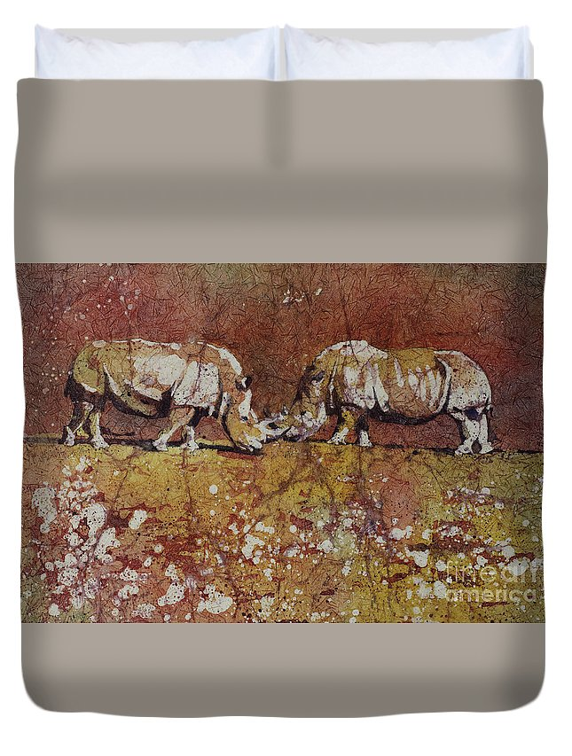 Duvet Cover featuring the painting Meeting Of The Minds by Ryan Fox