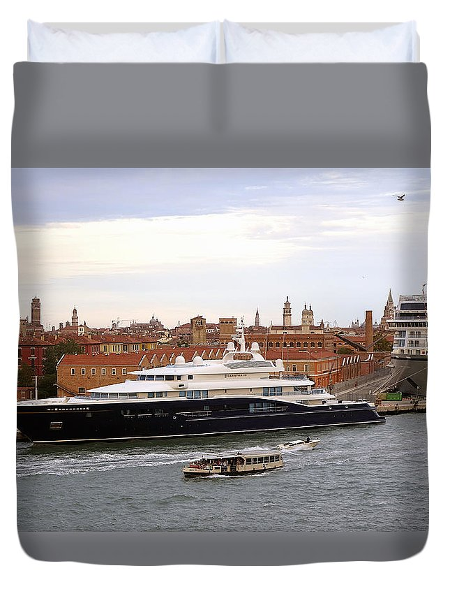 Mega Yacht Duvet Cover featuring the photograph Mega Luxury Yacht The Carinthia Vll In Venice, Italy by Richard Rosenshein