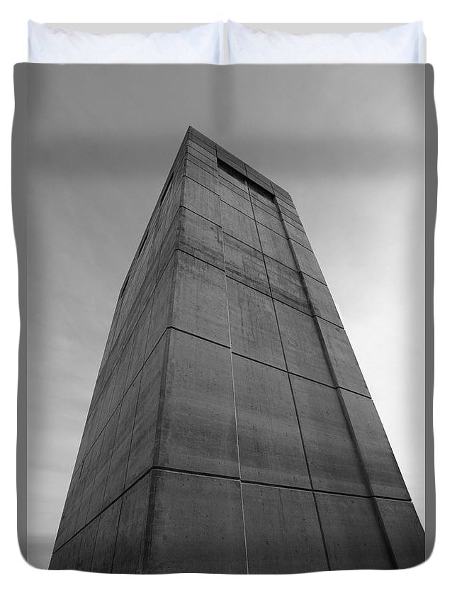 Structure Building Architecture Black White Monochrome Megalith Monolith Daunting Overpowering Overwhelming Duvet Cover featuring the photograph Megalith 7249 by Ken DePue