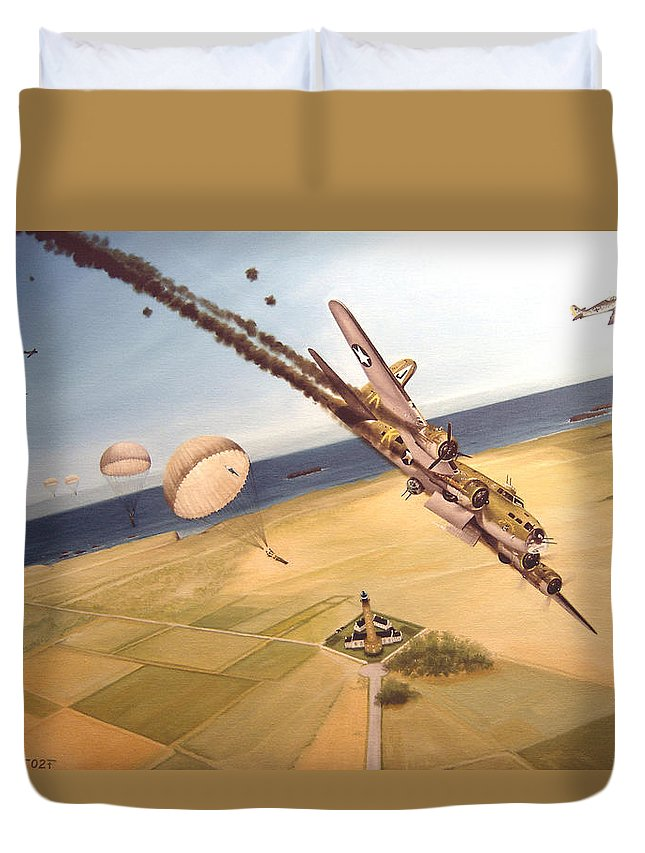 Aviation Duvet Cover featuring the painting Mehitabel by Marc Stewart