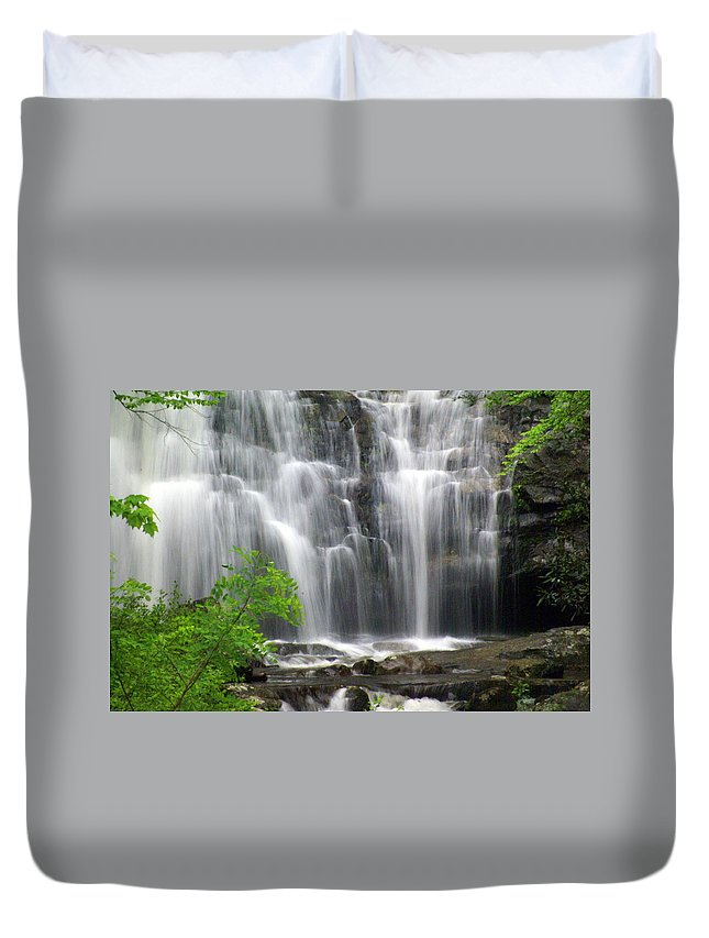 Meigs Falls Duvet Cover featuring the photograph Meigs Falls 2 by Marty Koch