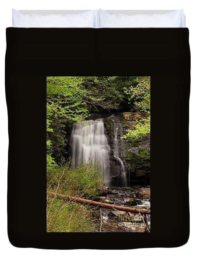 Meigs Falls Duvet Cover featuring the photograph Meigs Falls Two by Bob Phillips