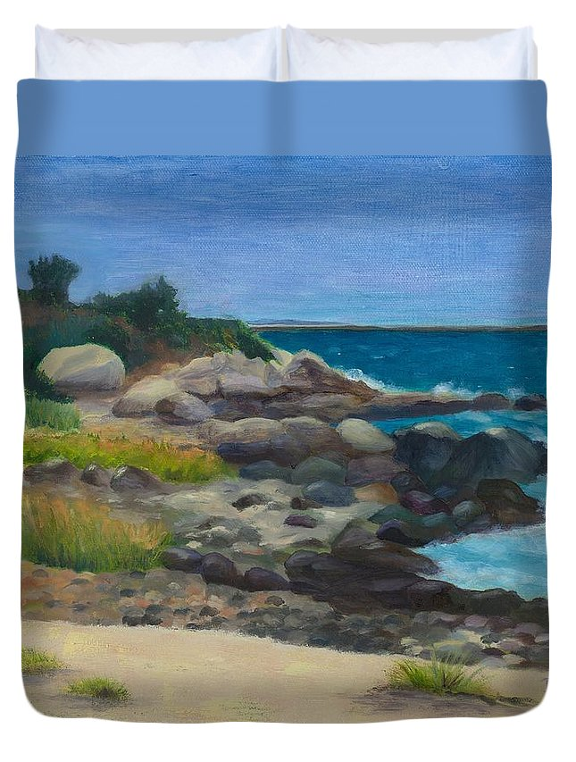 Landscape Duvet Cover featuring the painting Meigs Point by Paula Emery
