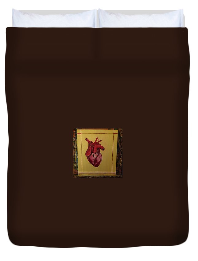 Heart Realistic Mein Herz Muscle Oil Duvet Cover featuring the painting Mein Herz My Heart by Costin Tudor