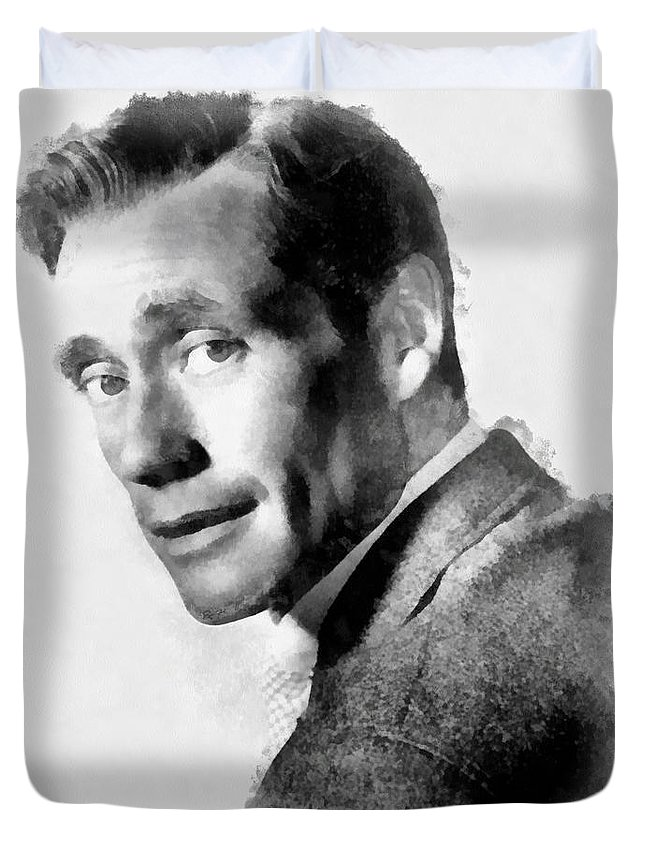 Hollywood Duvet Cover featuring the painting Mel Ferrer By John Springfield by John Springfield