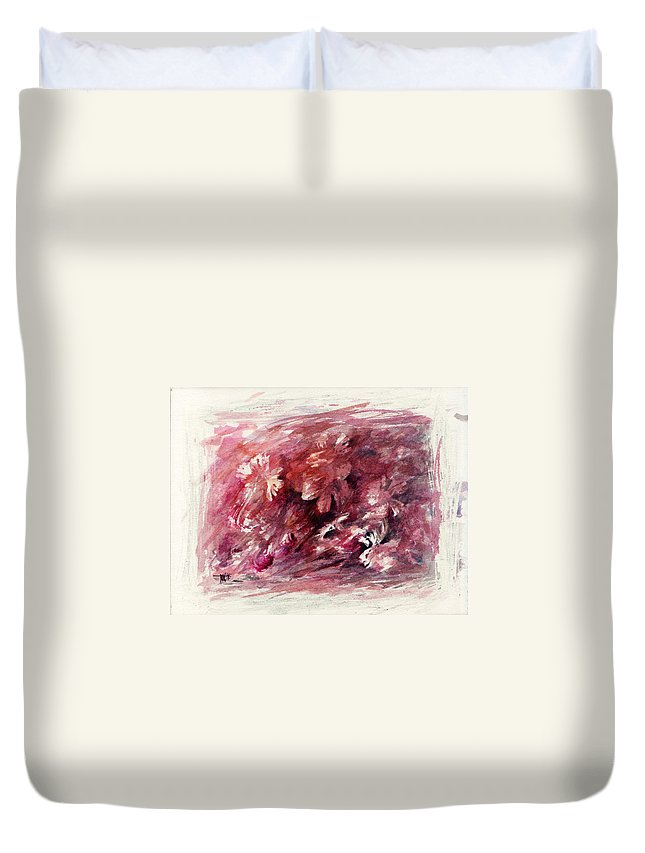 Floral Duvet Cover featuring the painting Melancholic Moment by Rachel Christine Nowicki