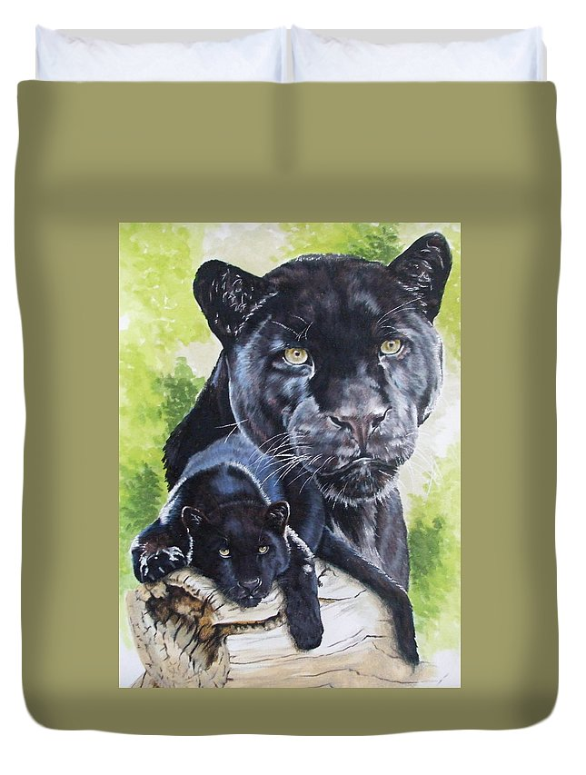 Big Cat Duvet Cover featuring the mixed media Melancholy by Barbara Keith