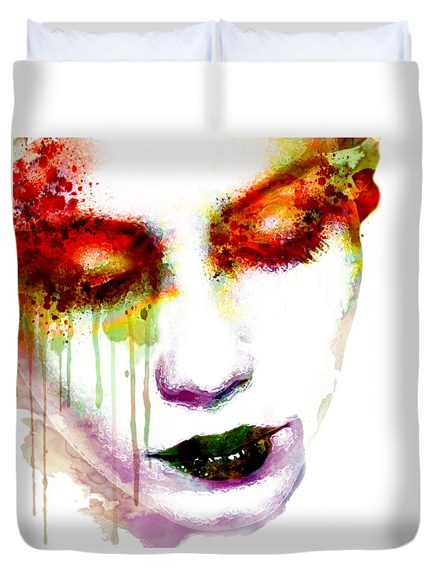 Melancholy Duvet Cover featuring the painting Melancholy In Watercolor by Marian Voicu