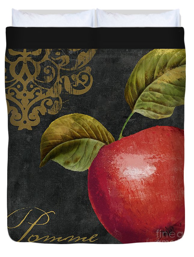 Apple Duvet Cover featuring the painting Melange Apple Pomme by Mindy Sommers