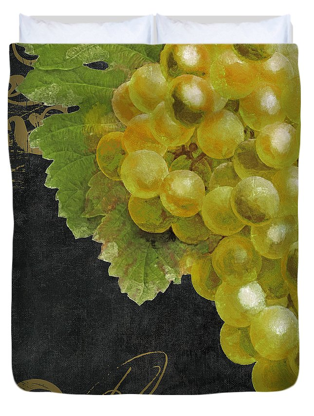Grapes Duvet Cover featuring the painting Melange Green Grapes by Mindy Sommers
