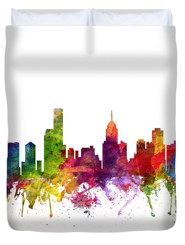 Melbourne Duvet Cover featuring the drawing Melbourne Australia Cityscape 06 by Aged Pixel