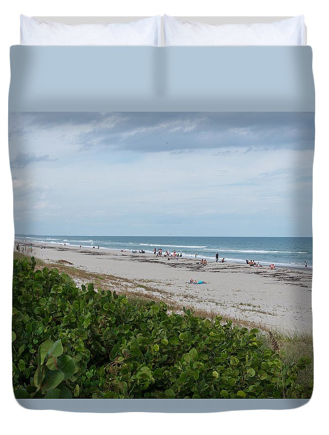 Melbourne Beach Duvet Cover featuring the photograph Melbourne Beach Florida November View by JG Thompson