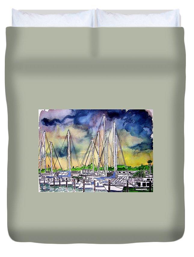 Boat Duvet Cover featuring the digital art Melbourne Florida Marina by Derek Mccrea