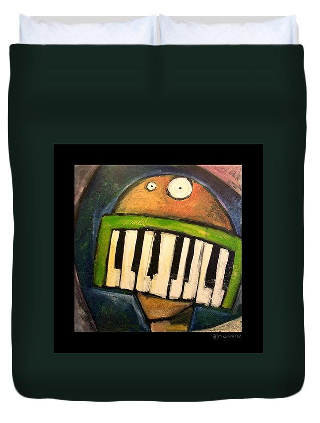 Funny Duvet Cover featuring the painting Melodica Mouth by Tim Nyberg