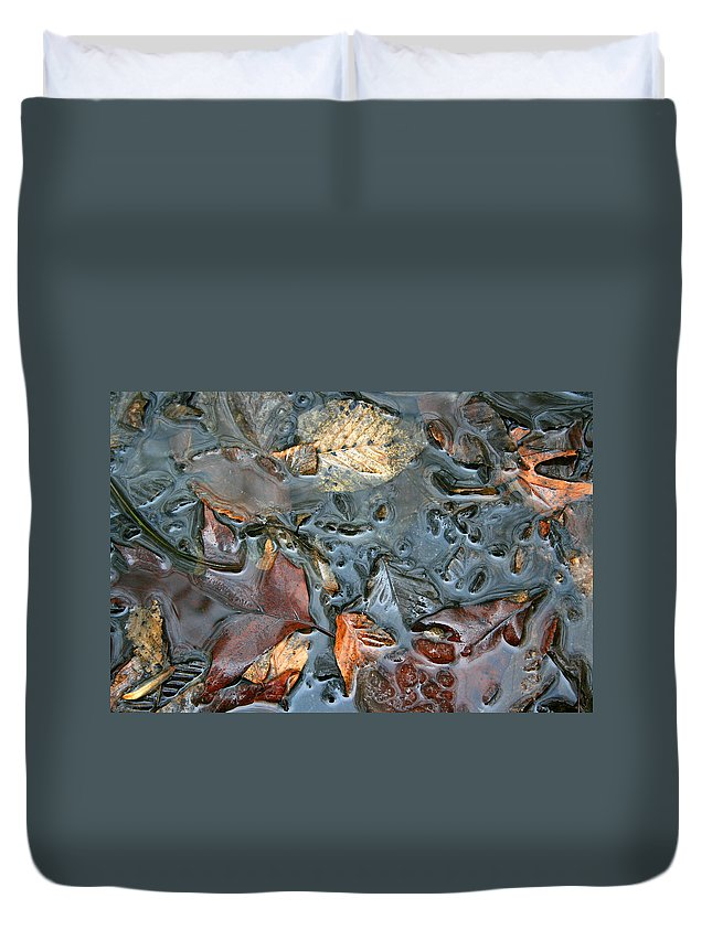 Nature Fall Leaf Leaves Colorful Water Melt Melted Reflect Reflection Outdoors Forest Woods Light Duvet Cover featuring the photograph Melted Colors by Andrei Shliakhau