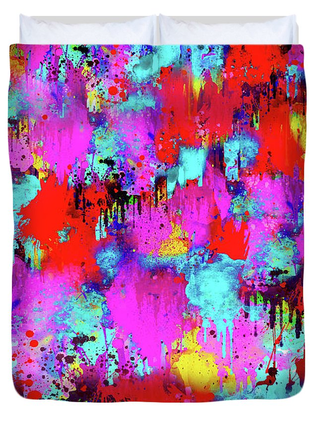 Abstract Duvet Cover featuring the digital art Melting Flowers Abstract by Prar Kulasekara
