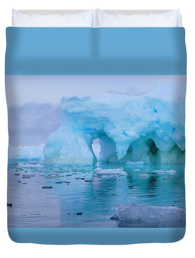 Iceberg Duvet Cover featuring the photograph Melting Iceberg by Harry Coburn