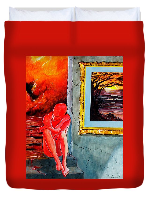 War Sunset Bombs Explosion Wait Loneliness Frustration Duvet Cover featuring the painting Memoirs Of A Bloody Sunset by Veronica Jackson